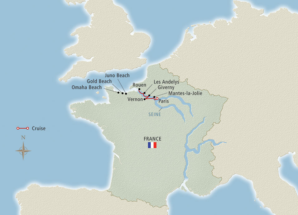 Itinerary map of Paris & the Heart of Normandy Paris to Paris