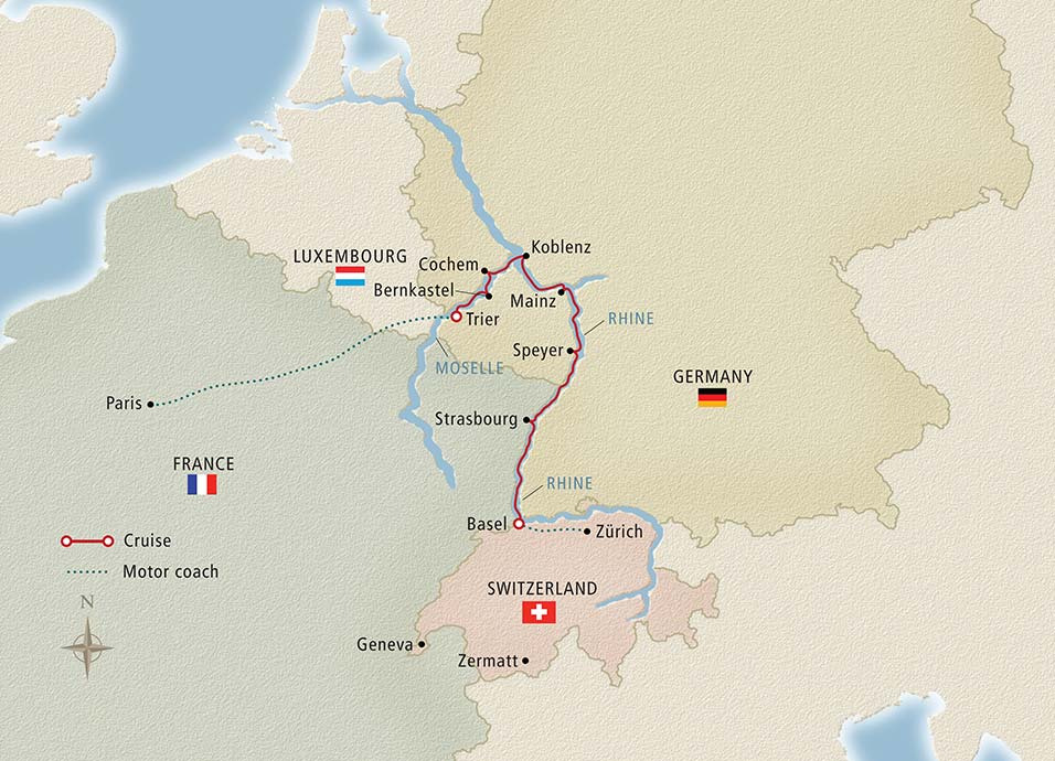 Itinerary map of Paris to the Swiss Alps Paris to Zurich