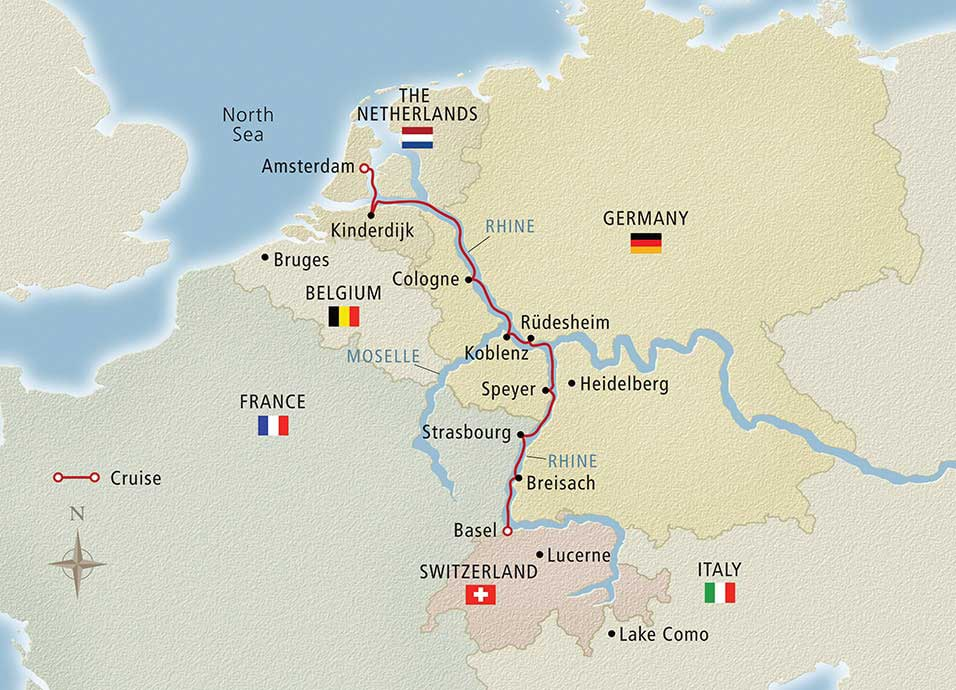 Itinerary map of Rhine Getaway Amsterdam to Basel