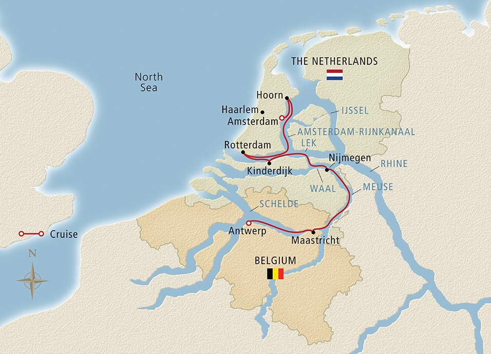 Itinerary map of Holland & Belgium in Bloom Antwerp to Amsterdam