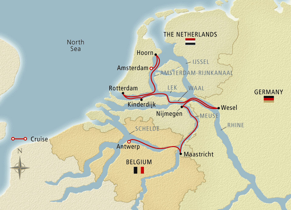 Map for Holland & Belgium Amsterdam to Antwerp