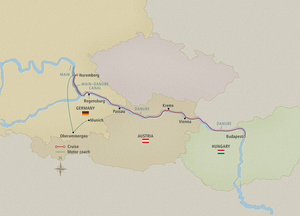 Itinerary map of Oberammergau, the Passion Play Munich to Budapest