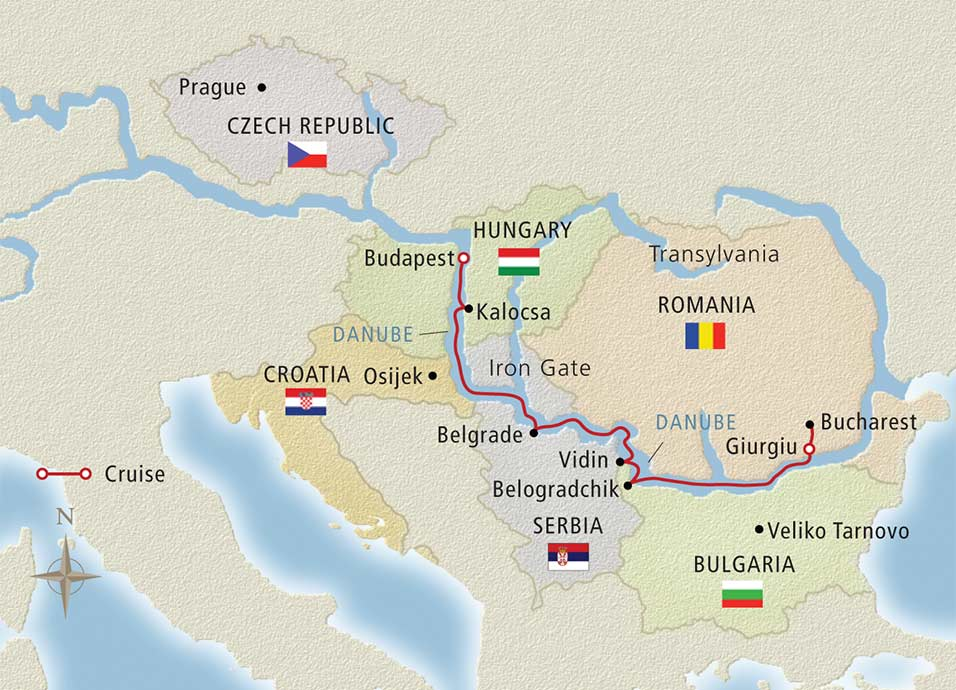 Itinerary map of Passage to Eastern Europe Budapest to Bucharest