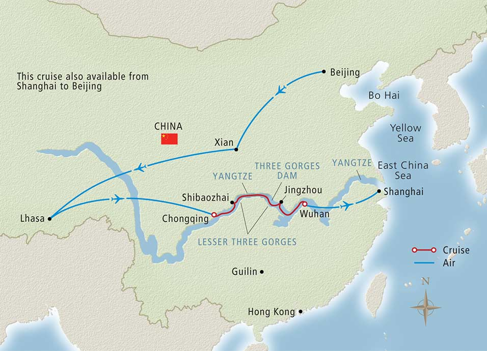 Itinerary map of Roof of the World Shanghai to Beijing