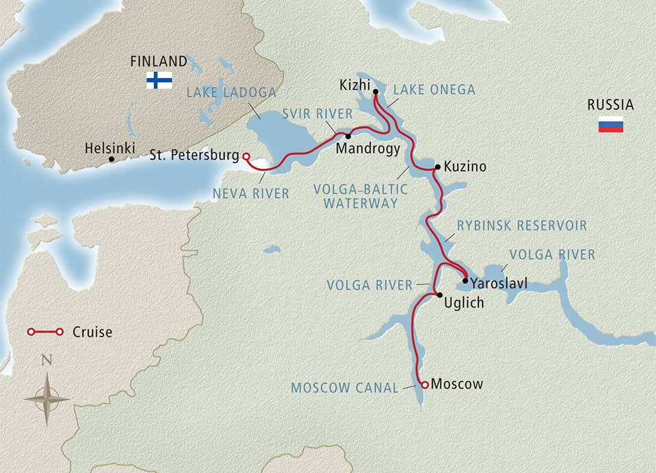 Itinerary map of Waterways of the Tsars Moscow to St. Petersburg