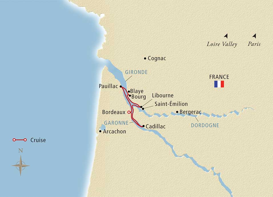 Map for Chateaux, Rivers & Wine Bordeaux to Bordeaux