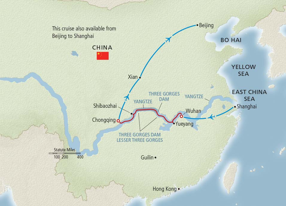 Itinerary map of Imperial Jewels of China Shanghai to Beijing